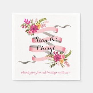 Vintage Folklore Floral Banner Ribbon | pink Disposable Napkins