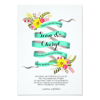 Vintage Folklore Floral Banner Ribbon Wedding Card