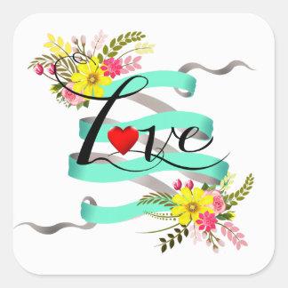 Vintage Folklore Floral Love | aqua white Square Sticker