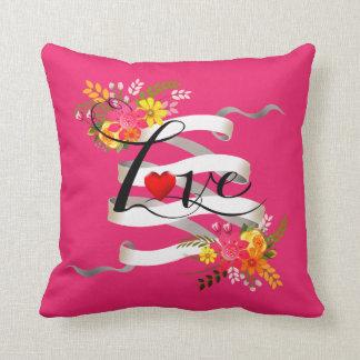 Vintage Folklore Floral Love Banner Ribbon Pillows