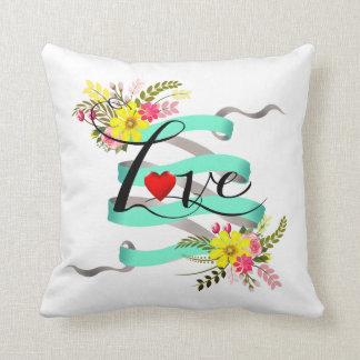 Vintage Folklore Floral Love Banner Ribbon Pillow