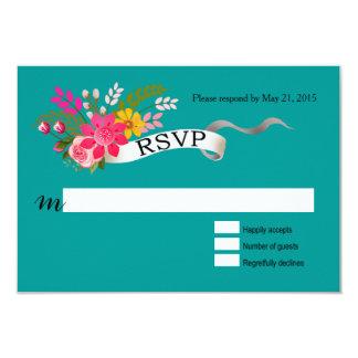 Vintage Folklore Floral Love Banner Ribbon RSVP Card