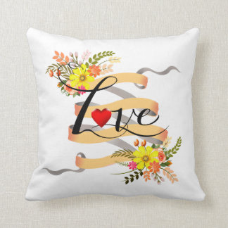 Vintage Folklore Floral Love Banner Ribbon Throw Pillow
