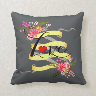 Vintage Folklore Floral Love Banner Ribbon Throw Pillows