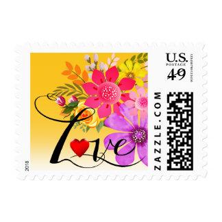 Vintage Folklore Floral Love | marigold white Postage