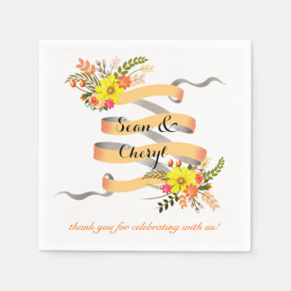 Vintage Folklore Floral Ribbon | peach white Paper Napkin