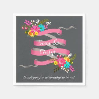 Vintage Folklore Floral Ribbon | pink charcoal Standard Cocktail Napkin