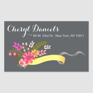 Vintage Folklore Floral Ribbon yellow charcoal Rectangular Sticker
