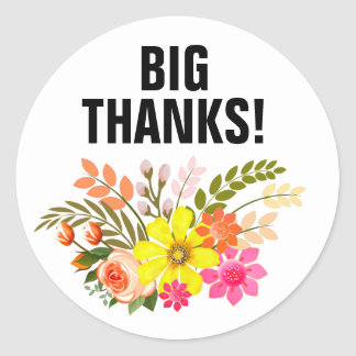 Vintage Folklore Floral Thank You peach white Classic Round Sticker