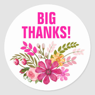 Vintage Folklore Floral Thank You | pink Classic Round Sticker