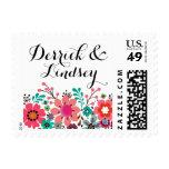 Vintage Folklore Flower Garden  | aqua Postage Stamps