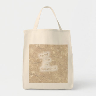 Vintage Font Enjoy Life It's Delicious Marble-like Tote Bag
