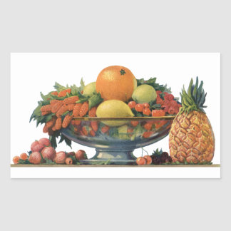 Vintage Food, Assorted Fruit in a Bowl Rectangular Sticker