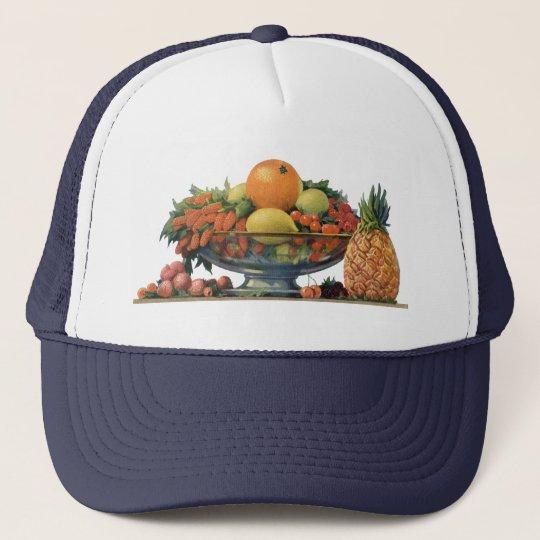 Vintage Food, Assorted Fruit in a Bowl Trucker Hat