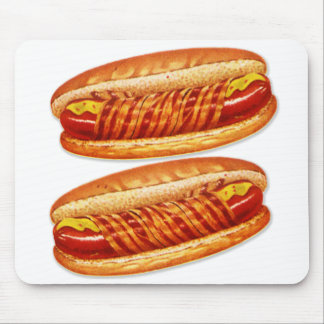 Vintage Food Bacon Wrapped Hot Dogs Mouse Pad