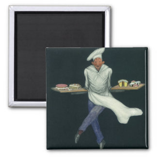 Vintage Food, Baker with Desserts and Pastries 2 Inch Square Magnet