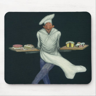 Vintage Food, Baker with Desserts and Pastries Mouse Pad