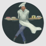 Vintage Food, Baker with Desserts and Pastries Round Stickers