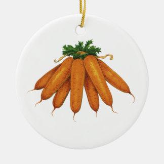 Vintage Food, Bunch of Organic Carrots Vegetables Ceramic Ornament