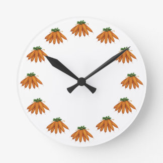 Vintage Food, Bunch of Organic Carrots Vegetables Round Clock
