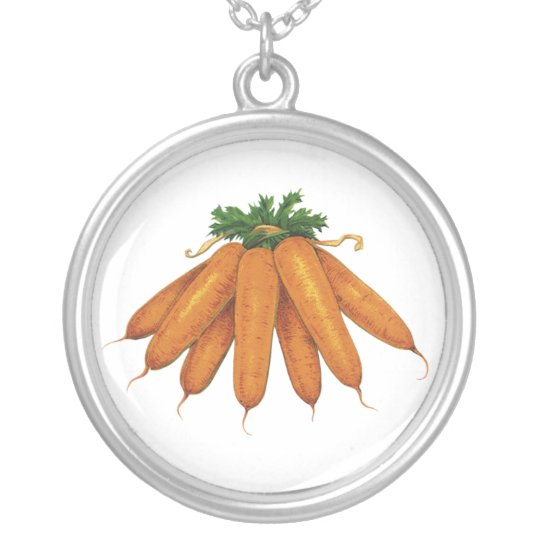 Vintage Food, Bunch of Organic Carrots Vegetables Silver Plated Necklace