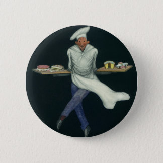 Vintage Food Business, Baker with Pastry Desserts Button