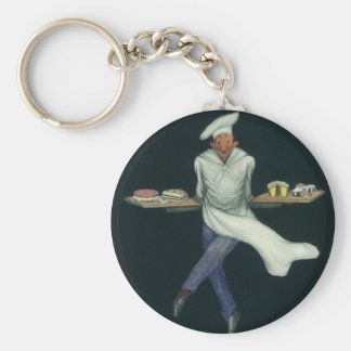 Vintage Food Business, Baker with Pastry Desserts Keychain