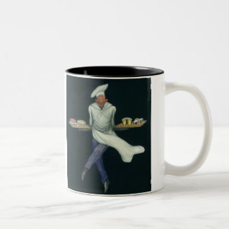 Vintage Food Business, Baker with Pastry Desserts Two-Tone Coffee Mug