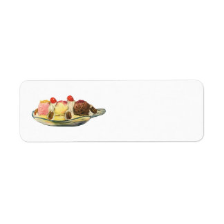 Vintage Food Desserts, Banana Split Cherries Label