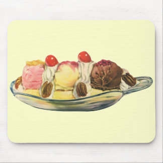Vintage Food Desserts, Banana Split Cherries Mouse Pad