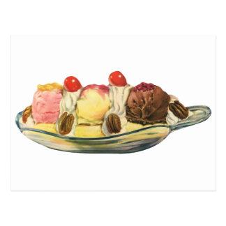Vintage Food Desserts, Banana Split Cherries Postcard