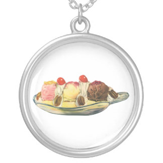 Vintage Food Desserts, Banana Split Cherries Silver Plated Necklace