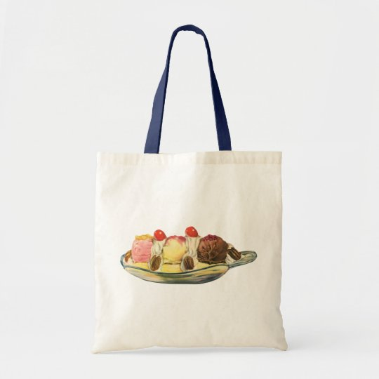 Vintage Food Desserts, Banana Split Cherries Tote Bag