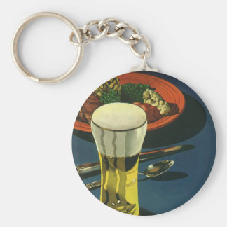 Vintage Food Drinks, Glass of Beer, Dinner Basic Round Button Keychain