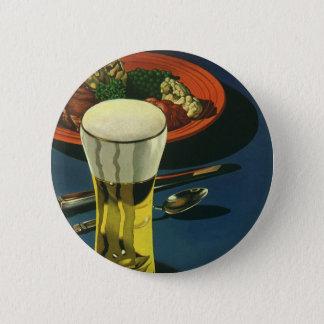 Vintage Food Drinks, Glass of Beer, Dinner Button