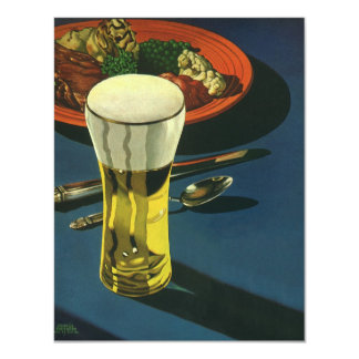 Vintage Food Drinks, Glass of Beer, Dinner Card