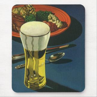 Vintage Food Drinks, Glass of Beer, Dinner Mouse Pad
