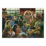Vintage Food, Family Dinner Meal Diner Restaurant Card