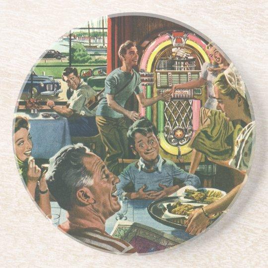 Vintage Food, Family Dinner Meal Diner Restaurant Coaster