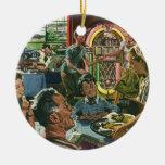 Vintage Food, Family Dinner Meal Diner Restaurant Christmas Ornament