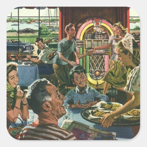 Vintage Food, Family Dinner Meal Diner Restaurant Square Sticker