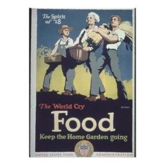 Vintage Food Farmer Propaganda for WWII Custom Invite