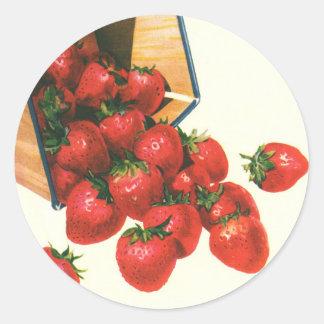 Vintage Food Fruit Berries, Strawberries in Basket Classic Round Sticker
