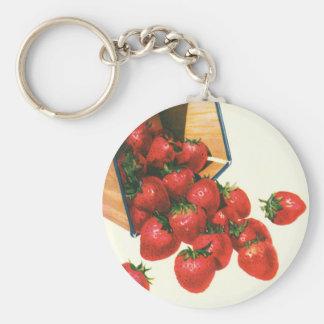 Vintage Food Fruit Berries Strawberries in Basket Key Chain