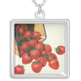 Vintage Food Fruit Berries, Strawberries in Basket Square Pendant Necklace