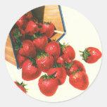 Vintage Food Fruit Berries, Strawberries in Basket Round Sticker