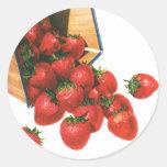 Vintage Food Fruit Berries, Strawberries in Basket Stickers