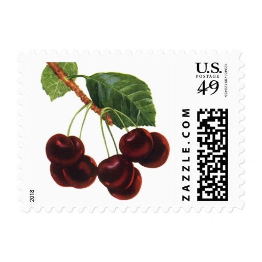 Vintage Food Fruit, Cherries on a Branch Postage Stamps
