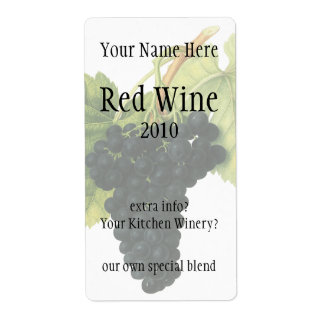 Vintage Food Fruit, Red Wine Organic Grape Cluster Shipping Label
