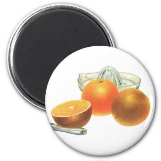 Vintage Food Fruit, Ripe Oranges Juicer Breakfast 2 Inch Round Magnet